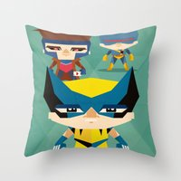 x men Throw Pillows featuring X Men fan art by danvinci