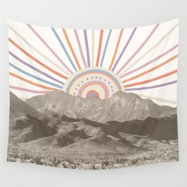 Bohemian Tribal Sun / Abstract Vintage Mountain Happy Summer Vibes Retro Colorful Pastel Sky Artwork Wall Tapestry