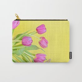 View to the easter pink tulips over yellow paper Carry-All Pouch