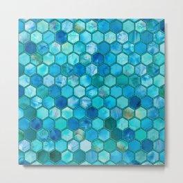 Blue aqua geometric hexagonal elegant & luxury pattern Metal Print