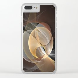 Brown, Beige And Gray Abstract Fractals Art Clear iPhone Case