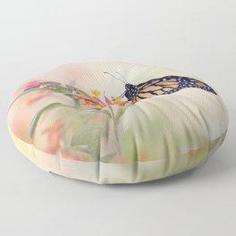 Monarch Butterfly  feeding on Tropical milkweed Floor Pillow