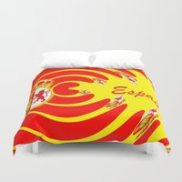 spanish Duvet Covers featuring Spanish Flag by Created by Eleni