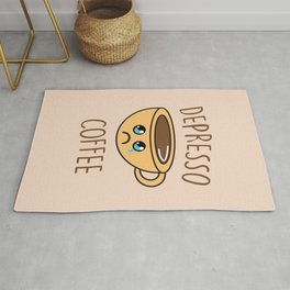 Depresso Coffee, Funny, Quote, Coffee Rug