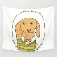 dachshund Wall Tapestries featuring Dachshund by MariyArti