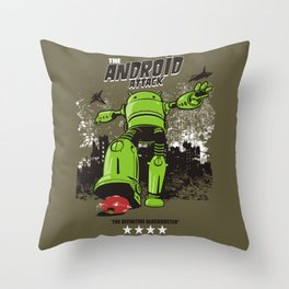 ANDROID ATTACK Throw Pillow