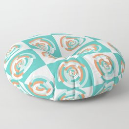 Spinning colourful rings on mint and pale yellow chessboard Floor Pillow