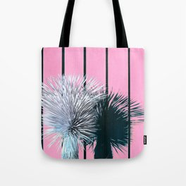 Yucca Plant in Front of Striped Pink Wall Tote Bag