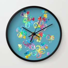 Colorful rainbow flowers Wall Clock