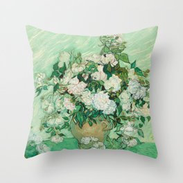 Vase with Roses Throw Pillow