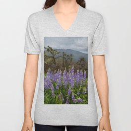 Lupines In The Hills Unisex V-Neck