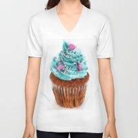 cupcake V-neck T-shirts featuring Cupcake by Manuela Mishkova