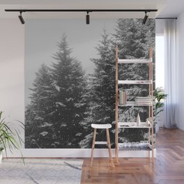 The Pine Tree Forest (Black and White) Wall Mural