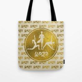 Golden Yoga Asanas Symbols  on  pastel beige Tote Bag