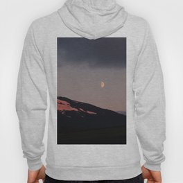 Moon over blackness and red pink ice Hoody