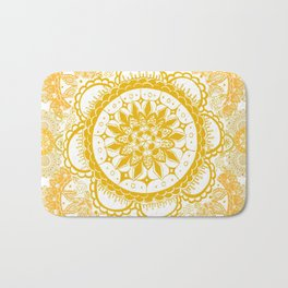 Orange Kaleidoscope Patterned Mandala Bath Mat