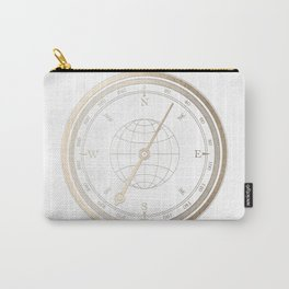 Gold Compass on White Carry-All Pouch