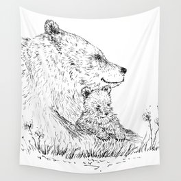 Mom and Baby Grizzly Bear Wall Tapestry