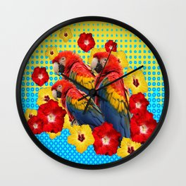 YELLOW-BLUE  FLORAL MACAWS & RED YELLOW HIBISCUS Wall Clock