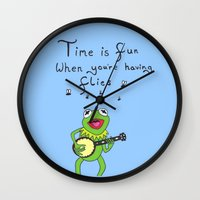 kermit Wall Clocks featuring Muppets Kermit by BlackBlizzard
