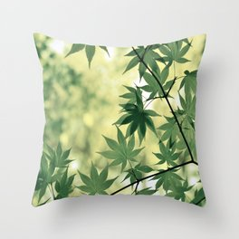 Green Japanese Maple Throw Pillow