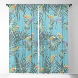 Parrots in the Tropical Jungle #2 #tropical #decor #art #society6 Sheer Curtain