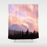 ashton irwin Shower Curtains featuring Rose Quartz Turbulence by Alaskan Momma Bear
