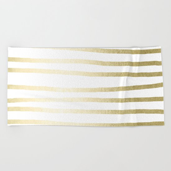 Simply Drawn Stripes Gilded Palace Gold Beach Towel