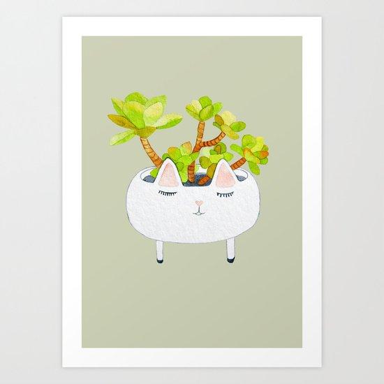 Kawaii succulents Art Print