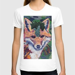 Fox Wearing Jewels Collage T-shirt