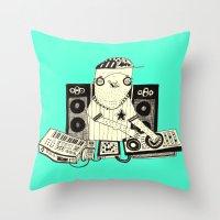 dj Throw Pillows featuring DJ  by Mr. JJ