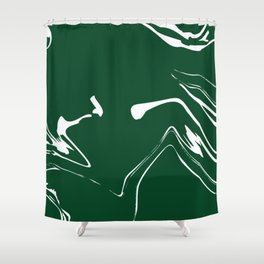 Green With White Liquid Paint Shower Curtain