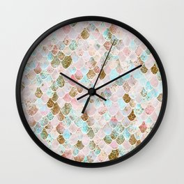 Wonky Watercolor Sea Foam Glitter Mermaid Scales Wall Clock