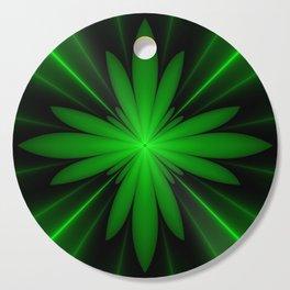 Neon Green Flower Fractal Cutting Board