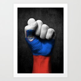 Slovenian Flag on a Raised Clenched Fist Art Print