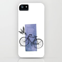 Humming Bird and Bicycle on Purple Watercolor Wash iPhone Case