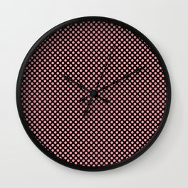 Black and Flamingo Pink Polka Dots Wall Clock