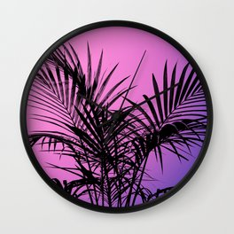 Palm tree in black with purplish gradient Wall Clock