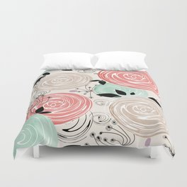 Retro . Abstract floral pattern. f Duvet Cover