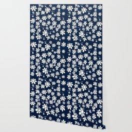 Fig Tree Pattern - White Wallpaper