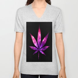 Weed : High Times fuchsia Pink Purple Galaxy Unisex V-Neck