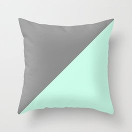 Grey and Mint Half Triangle Throw Pillow