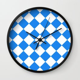 Large Diamonds - White and Dodger Blue Wall Clock