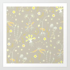 Yellow Floral Pattern Art Print