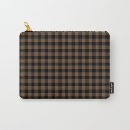 Classic Brown Coffee Country Cottage Summer Buffalo Plaid Carry-All Pouch