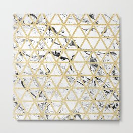 Stylish white marble faux gold glitter triangles pattern Metal Print