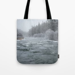 Winter On The Deschutes River Tote Bag