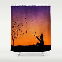 dream catcher Shower Curtains featuring Dream Catcher. by Nancy Woland