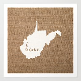 West Virginia is Home - White on Burlap Art Print