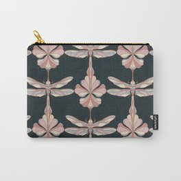 Petrol Green Dragonflies and Flowers Carry-All Pouch